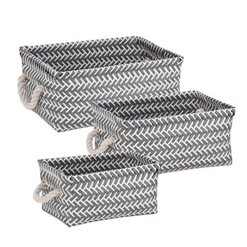 Honey-Can-Do STO-06690 Zig Zag Set of Nesting Baskets with Handles, Set of 3-Pack, Dark Grey