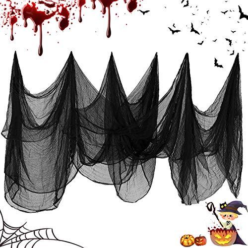 TaimeiMao Gruseliger Stoff Gruseliges Käsetuch,Halloween Stoff,Halloween Deko Stoff,Halloweenstoff schwarz,Halloween Dekoration Gruselig Vorhang,Horror Halloween Party Dekoration (215 x 1000 cm)