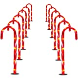 Prextex Christmas Candy Cane Pathway Markers Set of 12 Christmas Indoor/Outdoor Decoration Lights