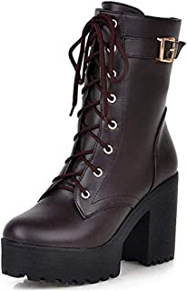 High Top Lace Up Ankle Boots, Platform Mid Calf Chunky Block High Heels Short Ankle Booties Combat Boots