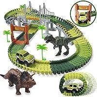 142-Pieces Homofy Slot Car Race Flexible Tracks Dinosaur Toys