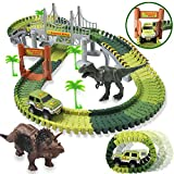 HOMOFY Dinosaur Toys 142pcs Slot Car Race Flexible Tracks 2 Dinosaurs,Create A Road Toys for 3 4 5 6...