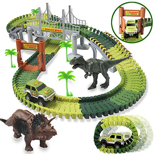 Image of the HOMOFY Dinosaur Toys 142pcs Slot Car Race Flexible Tracks 2 Dinosaurs,Create A Road Toys for 3 4 5 6 Year Old Boys Girls Toddlers Birthday Gifts