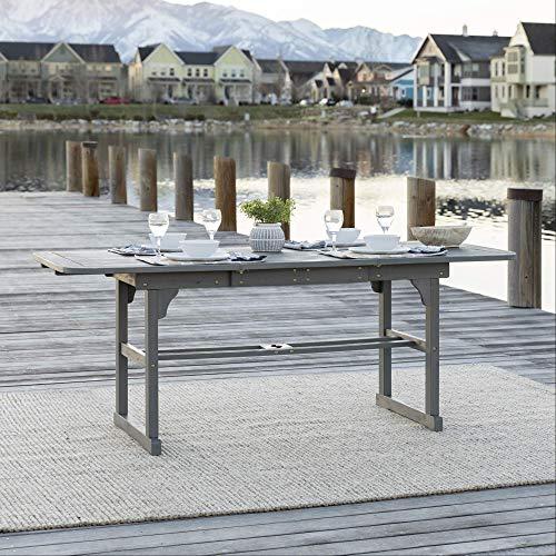 Kücheks Mesa de comedor rectangular extensible de madera para 6 a 8 personas con hoja para todo tipo de clima, jardín o balcón junto a la piscina, 55 – 79 pulgadas, gris