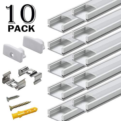 Profilo Alluminio LED - 10x1MT Profili LED U-Figura per Barra per Strisce LED , Compatto Facile-da-tagliare con Accessori Completi di Montaggio