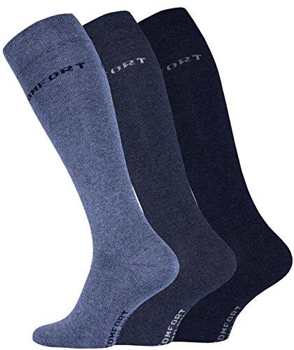 VCA 3 Paar Herren Comfort KNIESTRÜMPFE Baumwolle mit Elasthan, ohne Gummib&. Gr.43-46