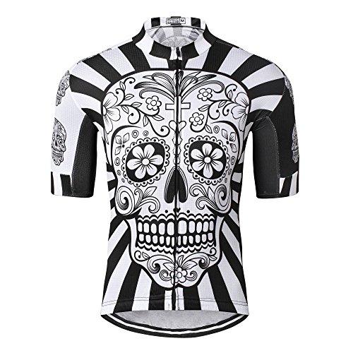 Shenshan - Maglia da ciclismo da uomo, traspirante, a maniche corte, per mountain bike, estiva, taglia XL, colore: Bianco