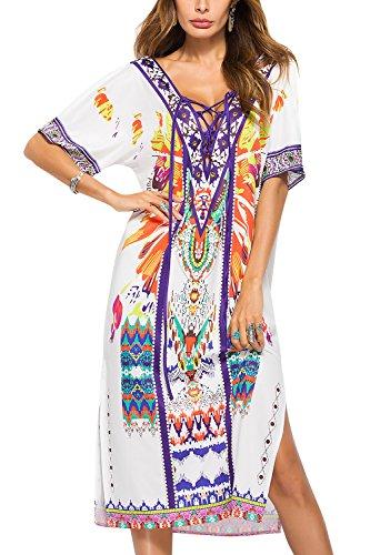 YAOMEI Vestidos Mujer Verano Casual, Mangas Cortas largas Maxi Vestido T-Shirt Casual Chaleco con Retro Floral Impreso, para Oficina Playa Ropa de casa Ropa de Calle Ocio (OneSize, Blanco)
