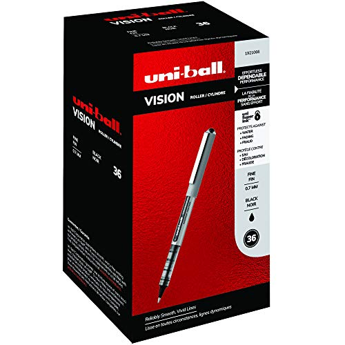 uni-ball Vision Rollerball Pens, Fine Point (0.7mm), Black, 36 Count