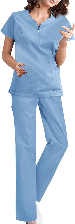 Women Suits Sets, Women Fashion Pure Color Short Sleeve V-Neck Trouser Causel Working Uniform Suit