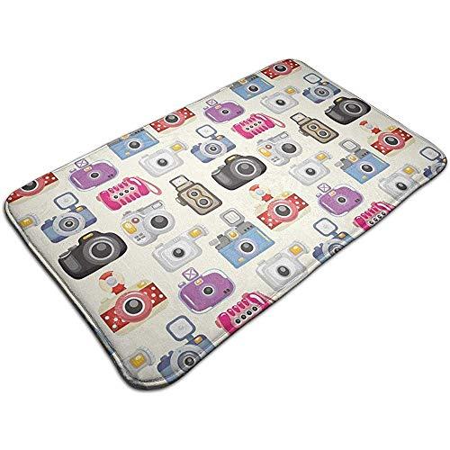 Traveler Non Slip Absorbent Memory Foam Badmat - Camera Patroon voor Home Decor-H7L2-TX3