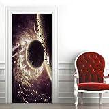 Etiqueta de Puerta Planeta Espacial 3D Pegatinas de Pared Decoración de Hogar 95 x 215 cm