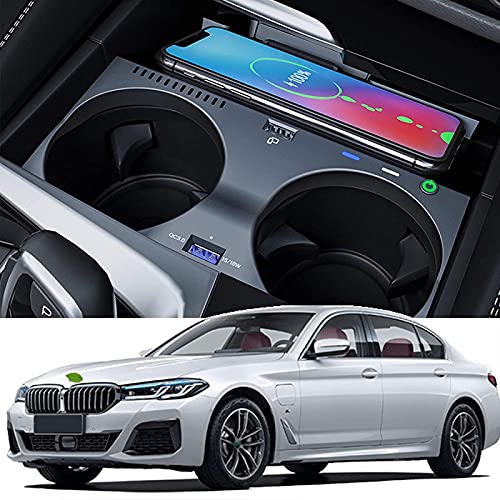 Cargador Inalámbrico Para Automóvil Para BMW 5 SERIES 525Li 530Li/6 SERIES GT Panel de Accesorios de Consola Central 15W Qi Cargador de Teléfono de Carga Rápida Pad con QC3.0 USB Wireless Charging Pad