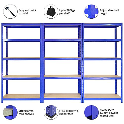 Monster Racking Sparangebot 3 x T-Rax Lagerregal Hochleistungsregal Garagenregal Stahlregal Industrieregal Werkstattregal Steckregal Lagerregal 90cm x 45cm x 180cm 100% Schraubenfrei + Gratis Gummihammer - 5