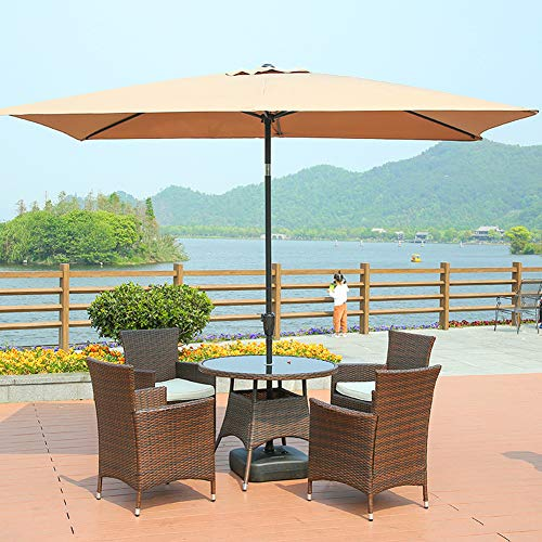Wgwioo Patio Umbrella Parasol, 2 X 3M Garden Umbrella, UV Protection Up To UPF 50, Perfect for Hotel, Beach, Patio, Garden, Yard, Deck,Beige