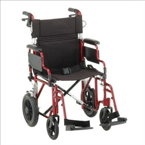 """Nova Comet 352 19"""" Transport Bariatric Wheelchair with Removable Desk Arms Color: Red"""