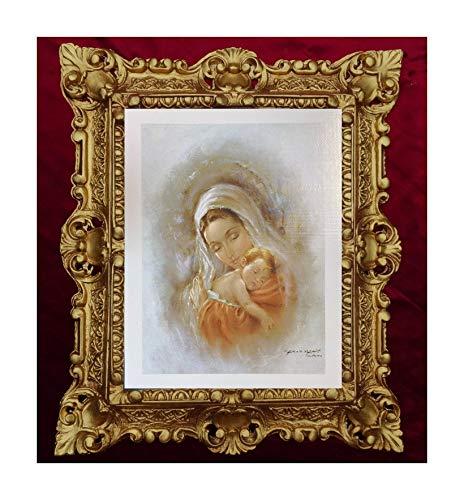 MADE IN ITALY Dipinto Religioso Maria con Bambino C. Parisi Ikonen BAROCK Look Antico 45 x 38 cm N-3