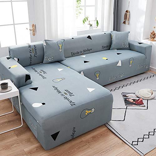 Fsogasilttlv Universal Funda Cubre Sofas Ajustables 2 plazas y 3 plazas 2 uds, Funda elástica para sofá para Sala de Estar, Funda para sofá, Chaise Longue en Forma de L, Funda Universal GG
