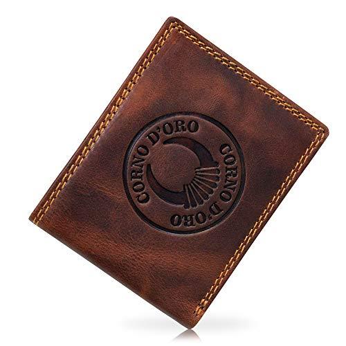 Corno d´Oro Geldbörse Herren Leder RFID TÜV-geprüft I Hochwertiger Geldbeutel Männer mit Münzfach I Vintage Portemonnaie braun im Geschenkbox 32009W