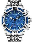 Relojes de cuarzo para hombre, cronógrafo, calendario, cronógrafo, correa de acero, reloj de cuarzo, resistente al agua, reloj de negocios, color azul plateado