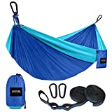 Kootek Camping Hammock Double & Single Portable Hammocks with 2 Tree Straps, Lightweight Nylon Parachute Hammocks for Backpacking, Travel, Beach, Backyard, Patio, Hiking (Blue & Sky Blue, Large)