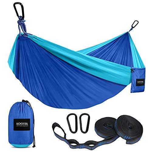Kootek Camping Hammock Double & Single Portable Hammocks with 2 Tree Straps, Lightweight Nylon Parachute Hammocks for Backpacking, Travel, Beach, Backyard, Patio, Hiking (Blue & Sky Blue, Large)