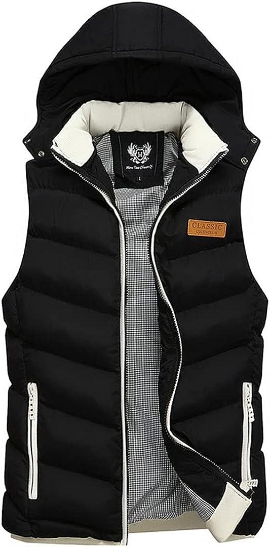 Winter Vest Hooded Men's Sleeveless Jackets Down Vest Waistcoat Streetwear Overcoat Hat Detachable Vest
