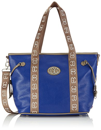 Poodlebag Damen German Couture-Bicolor-Tote Big Schultertaschen, Mehrfarbig (Blue/Stone), 43x13x30 cm