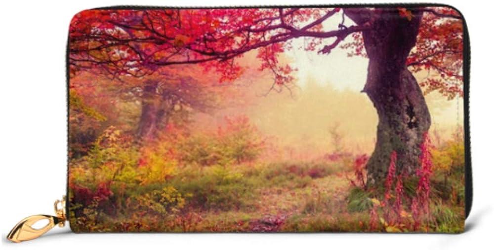 Fashion Handbag Zipper Wallet Majestic Landscape Autumn Trees Forest Carpathian Phone Clutch Purse Evening Clutch Blocking Leather Wallet Multi Car