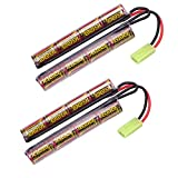 melasta 2pack 9.6V NiMH-Airsoft-Akku 1600mAh Butterfly-Akku für M4, M110, SR25, M249, M240B, G36, M14, RPK, PKM, L85, AUG, G3 Compatible with Mini-Tamiya-Anschluss