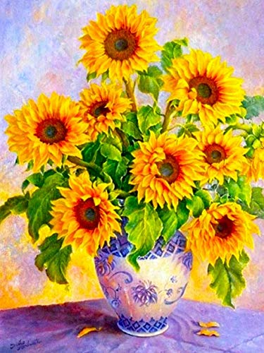 5D DIY Diamond Painting Sunflower Cross Stitch Kit Full Drill Embroidery Mosaic Flower Picture of Rhinestones Home Decor A1 50x70cm