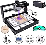 MYSWEETY DIY CNC 3018-PRO 3 Axis CNC Router Kit with 3000mW 3W Module + PCB Milling, Wood Carving Engraving Machine with Offline Control Board + ER11 and 5mm Extension Rod
