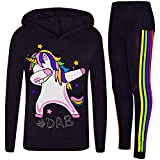 A2Z 4 Kids Bambini Ragazze Tute Designer Arcobaleno Unicorn #Dab Floss - Unicorn Hooded Set 227 Black 11-12