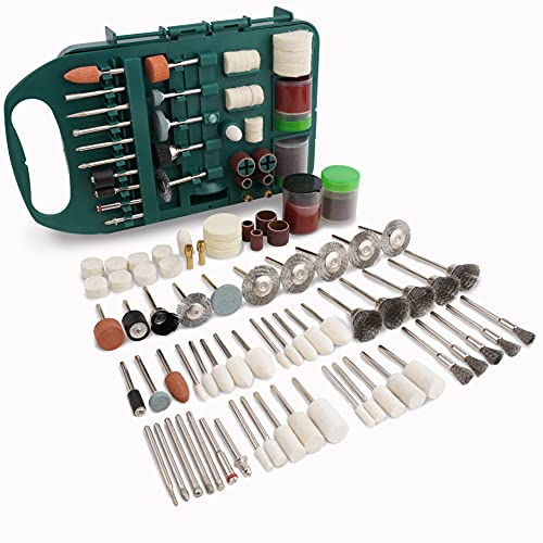 Rotary Tool Accessories Kit, Universal Fitment Come with Drill Bits, Felt Wheel, Wire Brush, Sanding Wheel for Easy Grinding, Sanding, Sharpening, Carving and Polishing