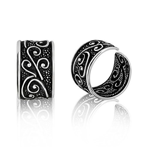 WithLoveSilver 925 Oxidized Sterling Silver Bali Floral Design Ear Cuffs Earrings