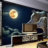 HGFHGD 3D壁画壁紙動物狼月壁装飾紙リビングルームソファ寝室テレビ背景画像壁紙
