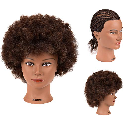 Price comparison product image Mannequin Head 100% Human Hair Training Head Afro Hair Manikin Head African American Training Hair Head Manikin Cosmetology Doll for Hairdresser Practice Styling Braiding with Clamp Stand