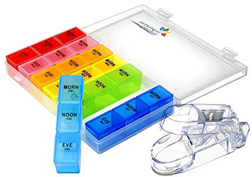 Rainbow Weekly Pill Organizer with Snap Lids  7-Day AM/PM   Detachable Compartments for Pills, Vitamin. (with Tablet Cutter)