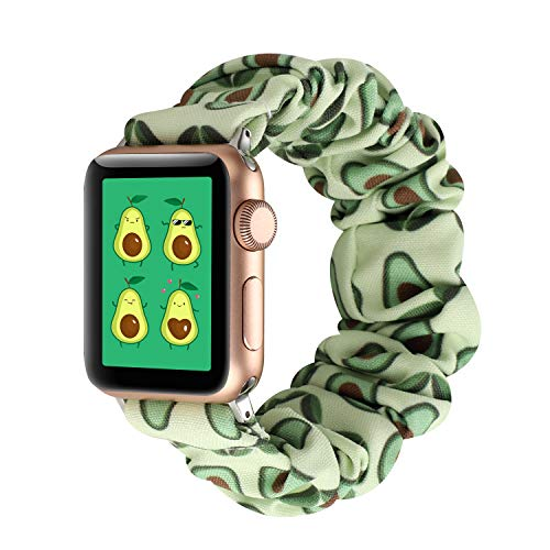 YOSWAN Scrunchie Elastic Watch Band Compatible for Apple Watch Band 38mm 42mm Women Girls Cloth Hair Rubber Band Strap Bracelet for iwatch SE Series 6 5 4 3 2 1 (Cartoon Avocado, 42mm/44mm)