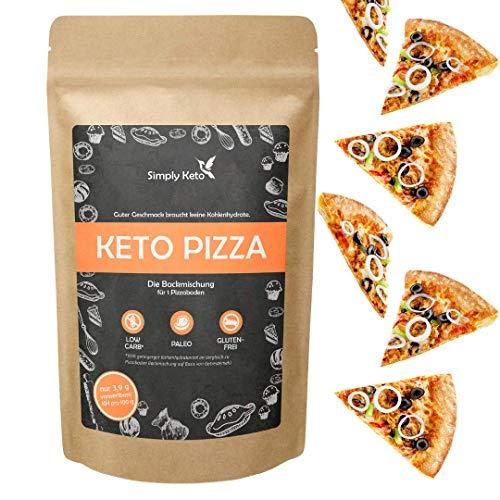 Simply Keto | Low-Carb & Keto Pizza Backmischung für 2x Pizza | Glutenfrei Sojafrei Vegan Proteinreich Kalorienarm | Nur 2,8g KH pro 100g | 290g Backmischung ohne Zuckerzusatz