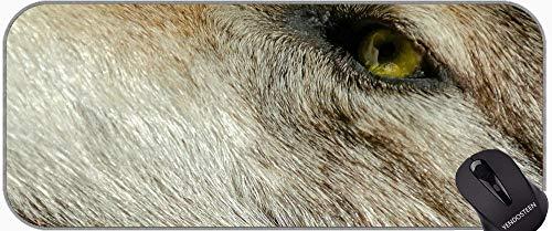 Juego extendido Alfombrilla De Ratón, Lobo Naturaleza Animal Cazador Furry Alfombrilla De Raton con Bordes cosidos