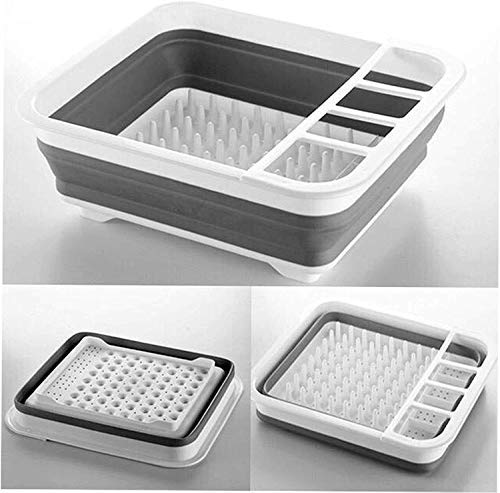 Collapsible Drying Drainer Silicone Folding Dish Rack with Spoon Cutlery Storage Holder Organizer Strainer Basket