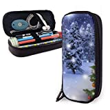 Yuanmeiju Winter Christmas Tree Estuche for Boys and Girls Large Pencil Pouch Holder Pen Case for Student College School Supplies & Office
