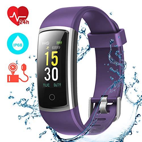 CHEREEKI Fitness Armband, Fitness Tracker mit Pulsmesser IP68 Wasserdichter Farbbildschirm Aktivitätstracker Fitness Uhr mit Blutdrucküberwachung Schrittzaehler Uhr Smart Watch Anruf SNS SMS