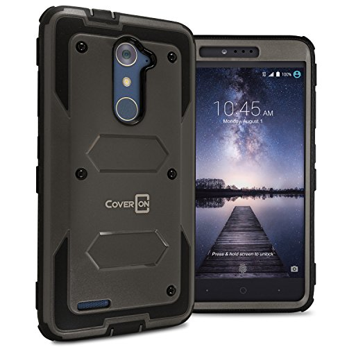 ZTE ZMAX Pro Case, ZTE Carry Case CoverON [Tank Series] Tough Hybrid Hard Armor Protective Phone Cover Case for ZTE Zmax Pro/Carry - Gunmetal Gray/Black