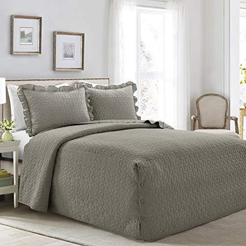 Lush Decor French Country Geo Ruffle Bedding, 3-Piece Bedspread Set (King, Dark Gray)