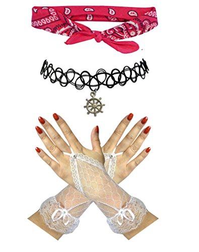 Sailor Zwarte Witte Schedel Roze Bandana + Schip Wiel Choker +Vingerloze Handschoenen