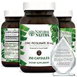 Natural Nutra Zinc Picolinate 30 mg, Double Strength, Raw and Pure, Highly Bioavailable Supplement for Growth, Immune and Thyroid Support, 250 Capsules