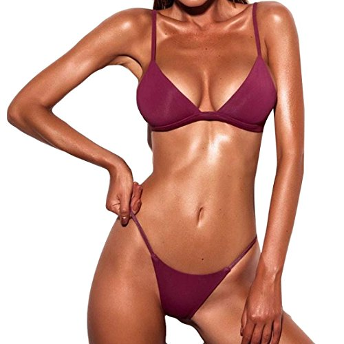 OVERDOSE Frauen Push-Up gepolsterte BH Beach Bikini Set Fest Damen Badeanzug Bademode(Wine,M