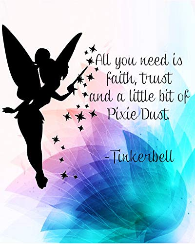 Tinkerbell Quotes-'Faith, Trust, Pixie Dust'-8 x 10' Peter Pan Themed Wall Art-Ready to Frame. Typographic Print with Fairy Silhouette Image. Inspirational Home-Bedroom-Play Room-Nursery Decor!